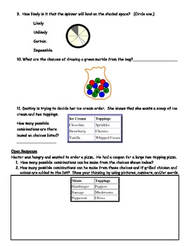 Data and Probability Test Prep Sheet for Grades 3 and 4