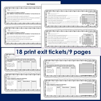 Data and Statistics Exit Tickets