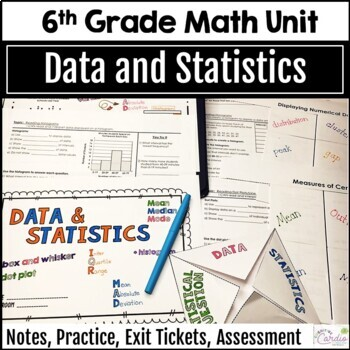 6th Grade Math Data and Statistics Curriculum Unit, Editable