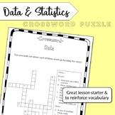 Data and statistics vocabulary crossword
