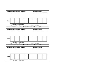 Data collection sheet for IEP goals