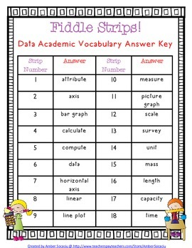 Data and Graphing Academic Vocabulary Fiddle Strips!