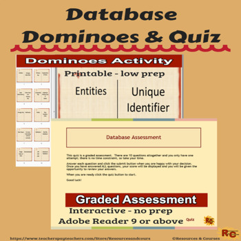 Database Dominoes & Interactive Graded Assessment Quiz
