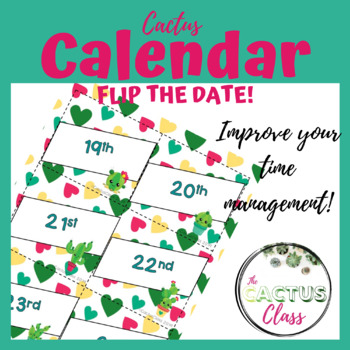 Date Display for Classroom | Cactus Hearts & Dots