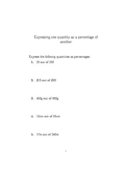 Expressing one quantity as a percentage of another (non-calculator)