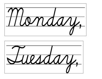 Date for Board or Calendar (Cursive)