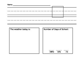 Date, weather, and days of school writing