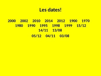 French Teaching Resources. Dates & High Numbers Starter Activity Slide.