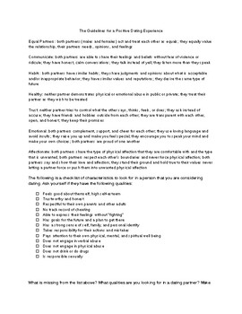 Dating Checklist - Guidelines for a Positive Dating Experience