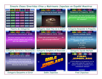 Dating & Marriage Spanish Jeopardy Game