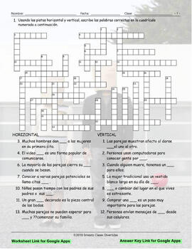 Dating and Marriage Interactive Spanish Crossword-Google Apps