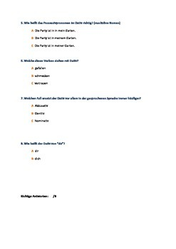 Dativ-Quiz (German) - The Dative case Quiz