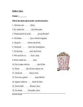 Dative Case German Worksheet - Dativ