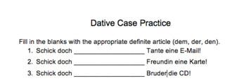 Dative Case Practice (Dativ)