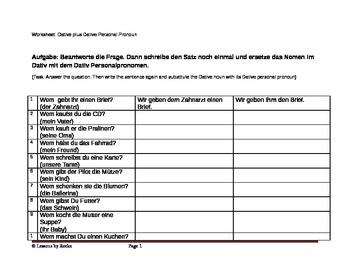 Dative Worksheet