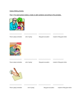 Dative Writing Activity (indirect object practice)