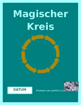Datum (Date in German) Magischer Kreis