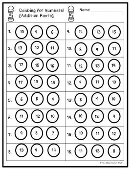 daubing for numbers basic addition facts bingo dauber activity. Black Bedroom Furniture Sets. Home Design Ideas