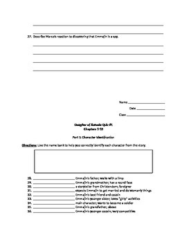 Daughter of Xanadu Comprehension Quiz for Chapters 1-15