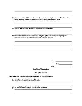 Daughter of Xanadu Comprehension Quiz for Chapters 16-44