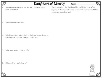 Daughters of Liberty: Daughters of the Revolution Reading Passages & Questions