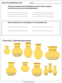 Dave The Potter -- Worksheets, Activities, Creative Writing, Sequence