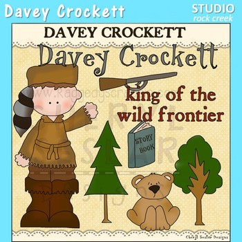 Davey Crockett US History Color Clip Art  C. Seslar