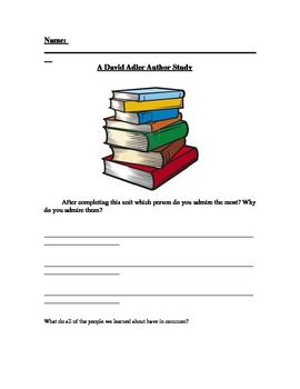 David Adler author Study for 2nd Grade Common Core Aligned