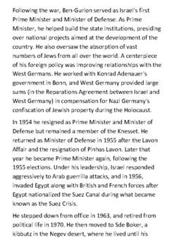 David Ben-Gurion Handout