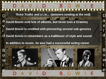 David Bowie: 25 slides with text, hyperlinks, primary sources, & handouts