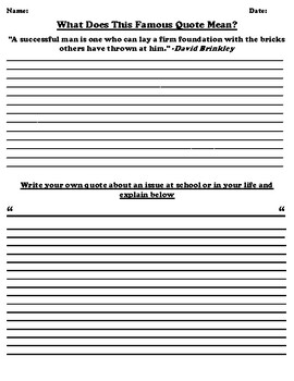 "David Brinkley ""Success"" Quote Worksheet (Quote in Description)"