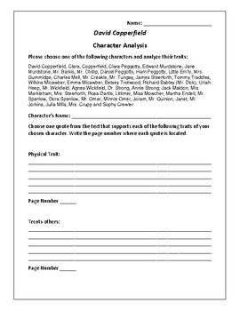 David Copperfield Character Analysis Activity - Charles Dickens