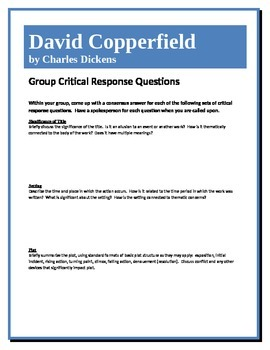 David Copperfield - Dickens - Group Critical Response Questions