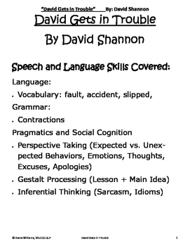 David Gets in Trouble - Expressive, Receptive and Social Language All-in-One