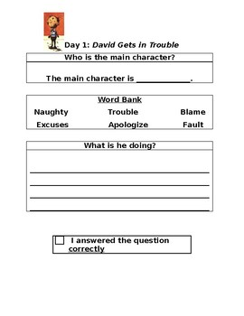 David Gets in Trouble: Two Day Close Reading Plan