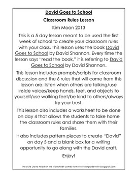 David Goes to School Classroom Rules Lesson