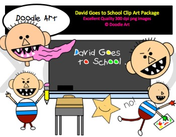 David at School Clipart Pack