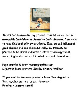 David Goes to School Letter Writing Activity