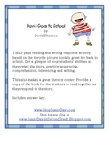 David Goes to School - Reading Response Pages