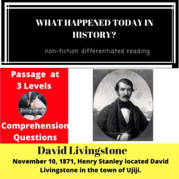 David Livingstone Differentiated Reading Passage, November 10