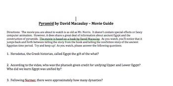 """David Macaulay's """"Pyramid"""" Movie Guide"""