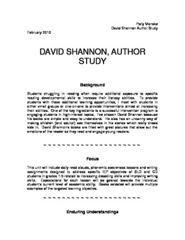 David Shannon - Author Study (K-2)