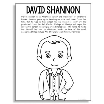 David Shannon, Famous Author Informational Text Coloring Page Craft, Library
