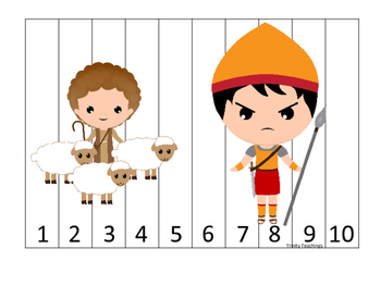 David and Goliath 1-10 Sequence Puzzle preschool Christian curriculum game.