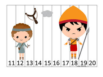 David and Goliath 11-20 Sequence Puzzle preschool Christian curriculum game.