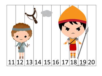 David and Goliath 11-20 Sequence Puzzle preschool Christia