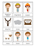 David and Goliath 3 Part Matching preschool Bible curriculum game. Christian pre