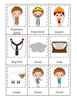 David and Goliath 3 Part Matching preschool Bible curriculum game. Christian pre