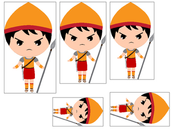 David and Goliath 4 Size Sequence preschool Christian curriculum games. Bible ma