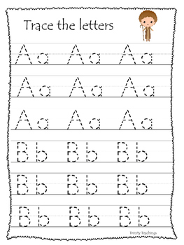David and Goliath A-Z Tracing preschool Bible curriculum worksheet. Christian